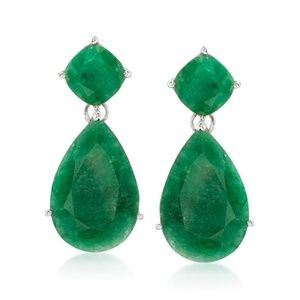 Emerald Drop Sterling Silver Earrings